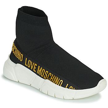 kengät Naiset Korkeavartiset tennarit Love Moschino JA15633G0D Musta