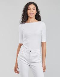 vaatteet Naiset T-paidat pitkillä hihoilla Lauren Ralph Lauren JUDY-ELBOW SLEEVE-KNIT Valkoinen