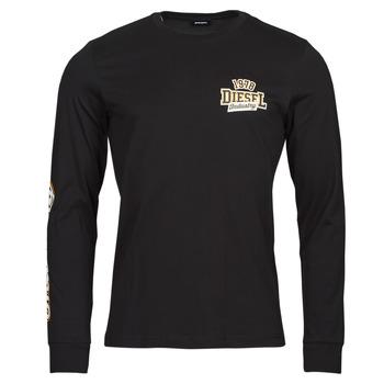 vaatteet Miehet T-paidat pitkillä hihoilla Diesel T-DIEGOS-LS-K27 Musta