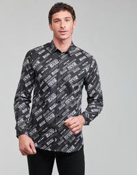 vaatteet Miehet Pitkähihainen paitapusero Versace Jeans Couture SLIM PRINT WARRANTY Musta / Valkoinen