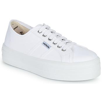 kengät Naiset Matalavartiset tennarit Victoria BLUCHER LONA PLATAFORMA White