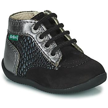 kengät Tytöt Bootsit Kickers BONZIP-2 Musta / Hopea