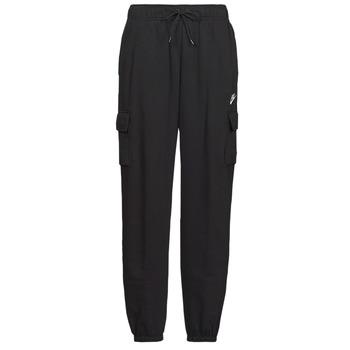 vaatteet Naiset Verryttelyhousut Nike W NSW ESSNTL FLC MR CRGO PNT Musta / Valkoinen