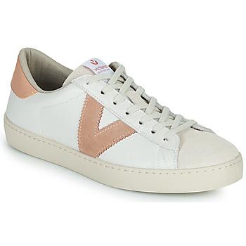 kengät Naiset Matalavartiset tennarit Victoria BERLIN PIEL CONTRASTE Valkoinen / Vaaleanpunainen