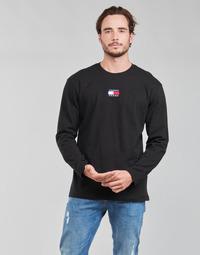 vaatteet Miehet T-paidat pitkillä hihoilla Tommy Jeans TJM LS TOMMY BADGE TEE Musta