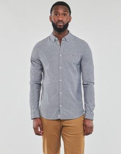 vaatteet Miehet Pitkähihainen paitapusero Tommy Jeans TJM STRETCH OXFORD SHIRT Musta