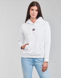 vaatteet Naiset Svetari Tommy Jeans TJW TOMMY CENTER BADGE HOODIE Valkoinen
