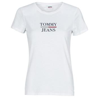 vaatteet Naiset Lyhythihainen t-paita Tommy Jeans TJW SKINNY ESSENTIAL TOMMY T SS Valkoinen
