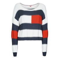 vaatteet Naiset Neulepusero Tommy Jeans TJW  RWB STRIPE SWEATER Sininen / Valkoinen / Punainen