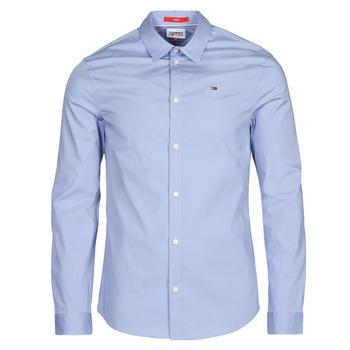 vaatteet Miehet Pitkähihainen paitapusero Tommy Jeans TJM ORIGINAL STRETCH SHIRT Sininen