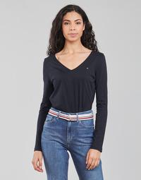 vaatteet Naiset T-paidat pitkillä hihoilla Tommy Hilfiger REGULAR CLASSIC V-NK TOP LS Laivastonsininen