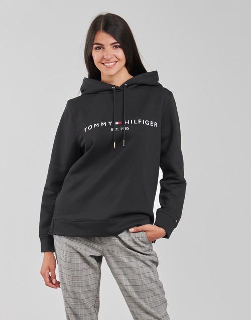 vaatteet Naiset Svetari Tommy Hilfiger HERITAGE HILFIGER HOODIE LS Musta