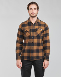 vaatteet Miehet Pitkähihainen paitapusero Dickies NEW SACRAMENTO SHIRT Kamelinruskea / Musta