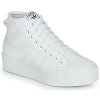 kengät Naiset Korkeavartiset tennarit adidas Originals NIZZA PLATFORM MID Valkoinen