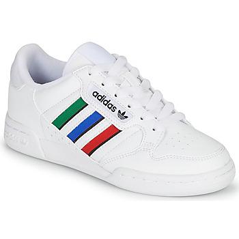 kengät Lapset Matalavartiset tennarit adidas Originals CONTINENTAL 80 STRI J Valkoinen / Vihreä / Sininen