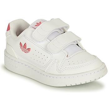 kengät Tytöt Matalavartiset tennarit adidas Originals NY 90 CF I Valkoinen / Vaaleanpunainen