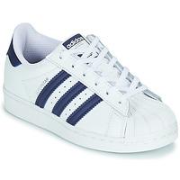 kengät Lapset Matalavartiset tennarit adidas Originals SUPERSTAR C Valkoinen / Sininen