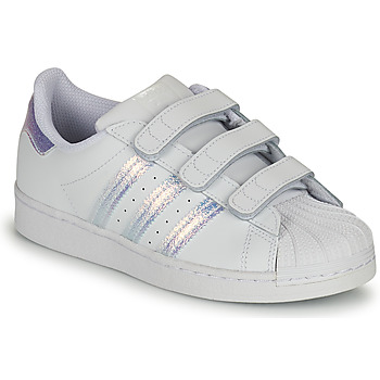 kengät Lapset Matalavartiset tennarit adidas Originals SUPERSTAR CF C Valkoinen / Hopea