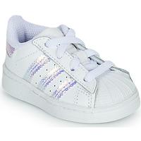 kengät Tytöt Matalavartiset tennarit adidas Originals SUPERSTAR EL I Valkoinen
