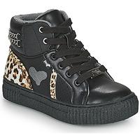 kengät Tytöt Korkeavartiset tennarit Primigi GIRL ALPHA Musta / Leopardi