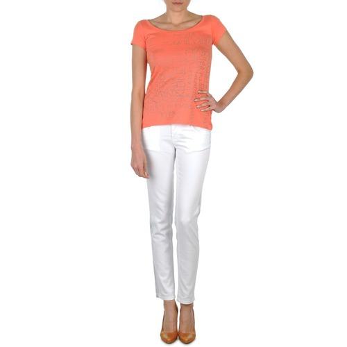 vaatteet Naiset Slim-farkut Calvin Klein Jeans JEAN BLANC BORDURE ARGENTEE White