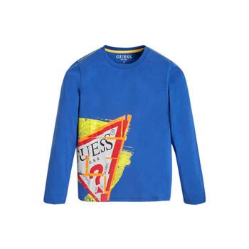 vaatteet Pojat T-paidat pitkillä hihoilla Guess LISTIN Sininen
