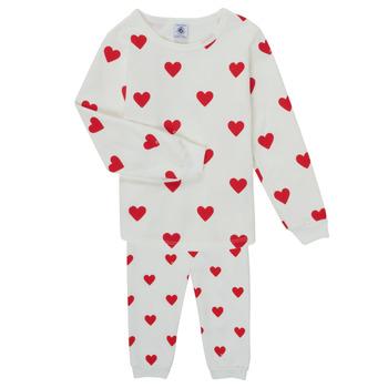 vaatteet Tytöt pyjamat / yöpaidat Petit Bateau CASSANDRE Valkoinen / Punainen