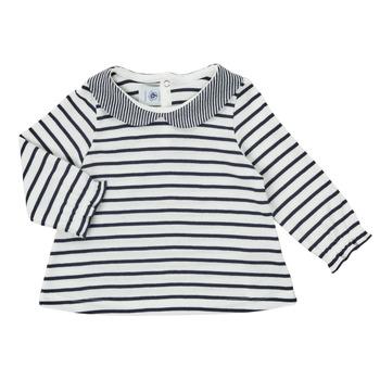 vaatteet Tytöt T-paidat pitkillä hihoilla Petit Bateau HOLINU Valkoinen / Sininen