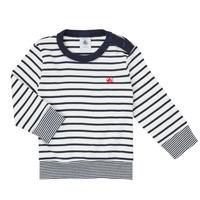 vaatteet Pojat T-paidat pitkillä hihoilla Petit Bateau IGRAE Valkoinen / Sininen