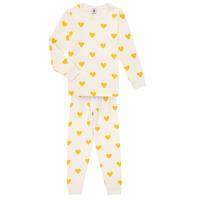 vaatteet Tytöt pyjamat / yöpaidat Petit Bateau LERINU Valkoinen / Keltainen