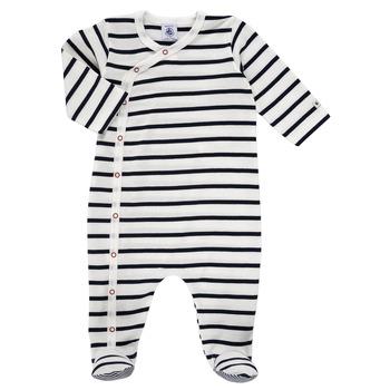 vaatteet Lapset pyjamat / yöpaidat Petit Bateau ONZER Valkoinen / Laivastonsininen
