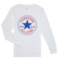 vaatteet Pojat T-paidat pitkillä hihoilla Converse CHUCK PATCH LONG SLEEVE TEE Valkoinen