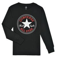 vaatteet Pojat T-paidat pitkillä hihoilla Converse CHUCK PATCH LONG SLEEVE TEE Musta