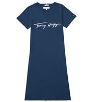 vaatteet Tytöt Lyhyt mekko Tommy Hilfiger POLINE Laivastonsininen