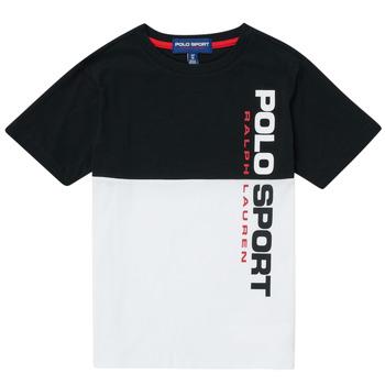 vaatteet Pojat Lyhythihainen t-paita Polo Ralph Lauren KAMILA Valkoinen / Musta