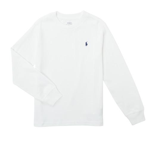 vaatteet Pojat T-paidat pitkillä hihoilla Polo Ralph Lauren KEMILO Valkoinen