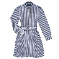 vaatteet Tytöt Lyhyt mekko Polo Ralph Lauren LIVIA Laivastonsininen / Valkoinen