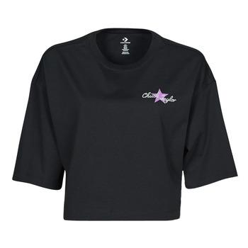 vaatteet Naiset Lyhythihainen t-paita Converse CHUCK INSPIRED HYBRID FLOWER OVERSIZED CROPPED TEE Musta
