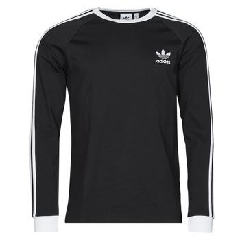 vaatteet Miehet T-paidat pitkillä hihoilla adidas Originals 3-STRIPES LS T Musta