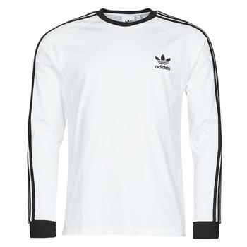 vaatteet Miehet T-paidat pitkillä hihoilla adidas Originals 3-STRIPES LS T Valkoinen