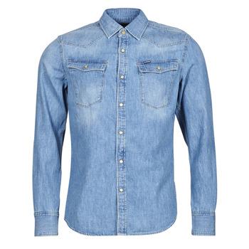 vaatteet Miehet Pitkähihainen paitapusero G-Star Raw 3301 SLIM SHIRT LS Sininen