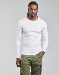 vaatteet Miehet T-paidat pitkillä hihoilla G-Star Raw BASE R T LS 1-PACK Valkoinen