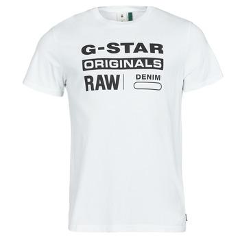 vaatteet Miehet Lyhythihainen t-paita G-Star Raw GRAPHIC 8 R T SS Valkoinen