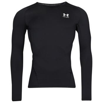 vaatteet Miehet T-paidat pitkillä hihoilla Under Armour UA HG ARMOUR COMP LS Musta / Valkoinen