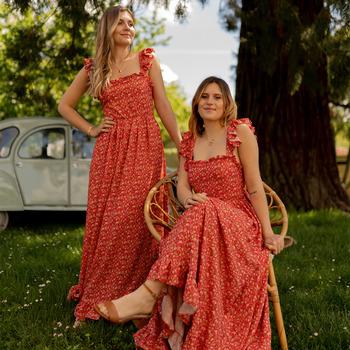 vaatteet Naiset Pitkä mekko Céleste AURORE Punainen