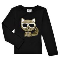 vaatteet Tytöt T-paidat pitkillä hihoilla Karl Lagerfeld AMETHYSTE Musta
