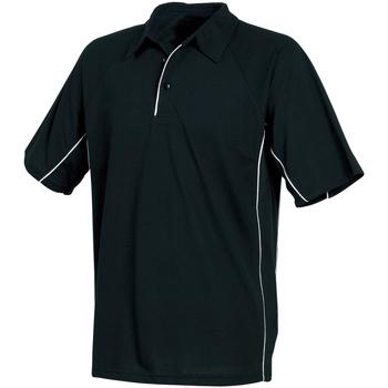 vaatteet Miehet Lyhythihainen poolopaita Tombo Teamsport TL065 Black/Black/White piping