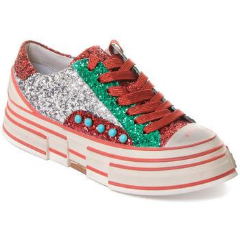 kengät Naiset Tennarit Rebecca White T2208 |Rebecca White| D??msk?? st???brn??/?erven??/zelen?? t?pytiv?? t
