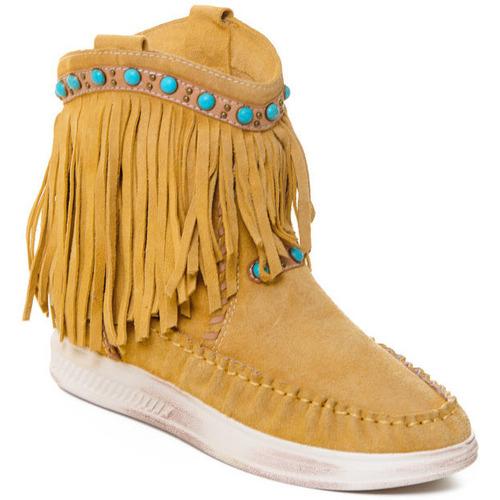 kengät Naiset Nilkkurit Rebecca White T6016 Keltainen