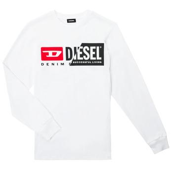 vaatteet Lapset T-paidat pitkillä hihoilla Diesel TDIEGOCUTY ML Valkoinen